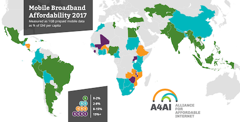 A world map with countries highlighted in different colors according to the cost of 1GB of mobile broadband data in that country.